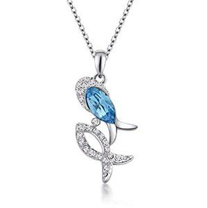 Sky Blue Crystal Rhinestone Fish Silver Chain